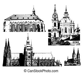vector Prague landmarks - Vector illustration of the...