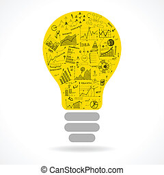 Doodle idea lightbulb icon with infographics charts isolated...