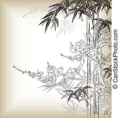 chinese tree background - asia style tree...