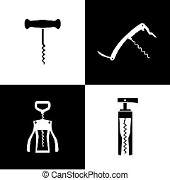 Set of black and white corkscrews vector illustration