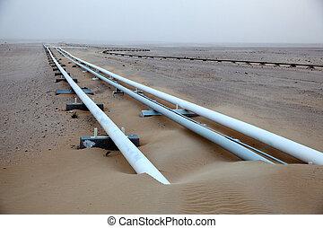 aceite, tubería, desierto, Qatar, medio, este
