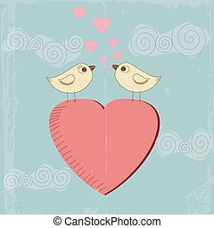 Vintage Valentine's Day greeting card vector