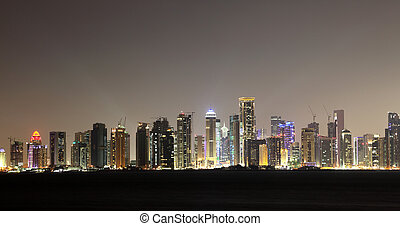 Doha downtown skyline at night, Qatar, Middle East