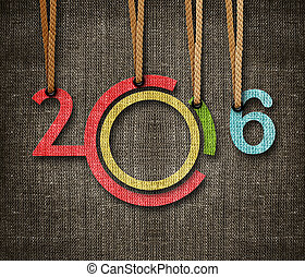 Happy New year 2016, numbers hunging by rope as puppeteer on...