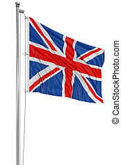 3D United Kingdom Flag - 3D UK Flag with fabric surface...