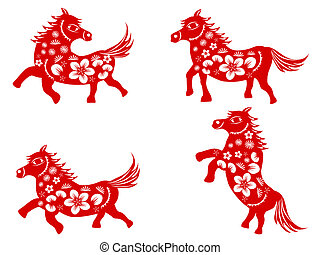 Chinese horse-paper cut - isolated red Chinese horse paper...