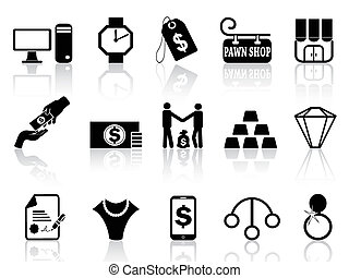 pawn shop icons set - isolated black pawn shop icons set...