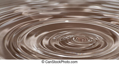 wave circles on water after droplet impact. color.