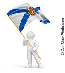 Man and flag of Nova Scotia - Man and flag Nova Scotia....