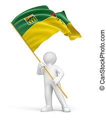 Man and flag of Saskatchewan - Man and flag Saskatchewan....