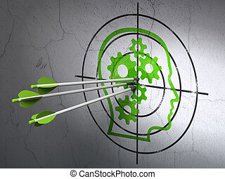Finance concept: arrows in Head With Gears target on wall...