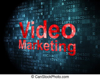 Finance concept: Video Marketing on digital background -...