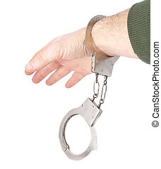 Mans arm with handcuffs
