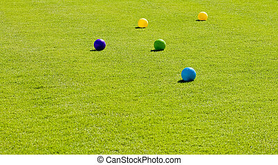 Yellow Green and Blue Bocce Balls