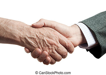 help - handshake of businessman and poor man, isolated on...