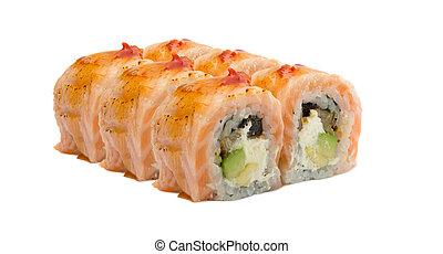 Salmon sushi rolls isolated on white background