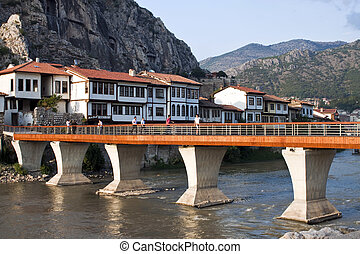 Amasya, Turkey - Bridge and traditional Ottoman houses in...