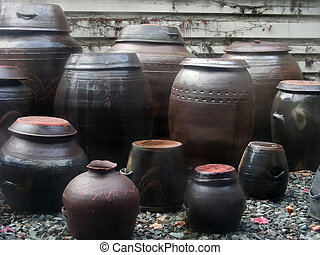 Kimchi Pots - A traditional goruping of pots used for making...