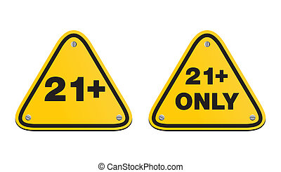 21 plus triangle yellow signs - suitable for warning signs