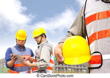 dos, constructor, discusión, proyecto, tableta, PC