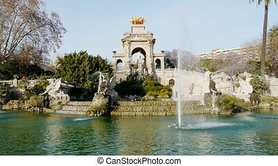 parc de la ciutadella fountain - fountain inside the park of...