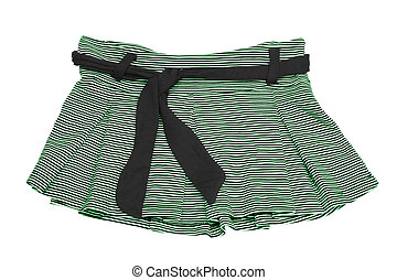 mini skirt - striped green and white mini skirt (with...