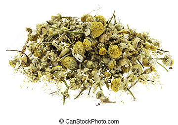 dry chamomile herb - isolated heap of dry chamomile herb...