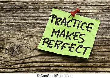 practice makes perfect - a motivational reminder on a green...