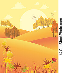 autumn afternoon - an illustration of a rural autumn fall...