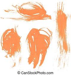 Set texture orange paint smears 2