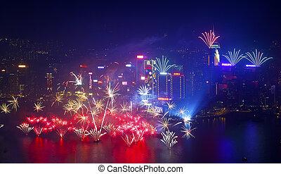 2014 New Year fireworks in Hong Kong - HONG KONG - 1...
