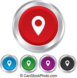 Map pointer icon. GPS location symbol. Round metallic...