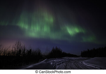 Aurora Borealis - Northern Lights display over Alaska, March...