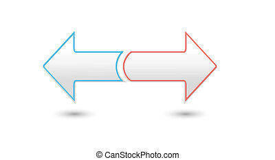 two inverse arrows - two silver inverse arrows with color...