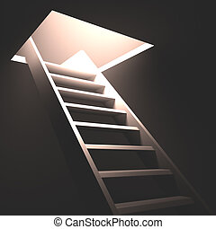 Exit in the ceiling with light and ladder