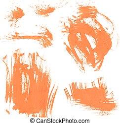 Set texture orange paint smears 4