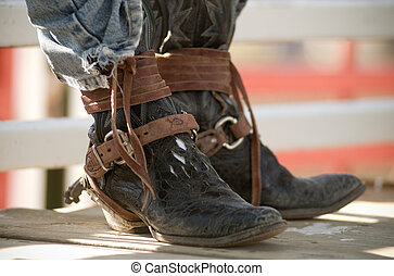 Cowboy Boots Brown Leather Rodeo Ri - Cowboy Boots worn by a...