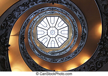 Double helix staircase - Double helix spiral staircase with...