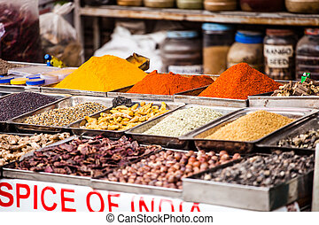indianas, colorido, Temperos, local, mercado