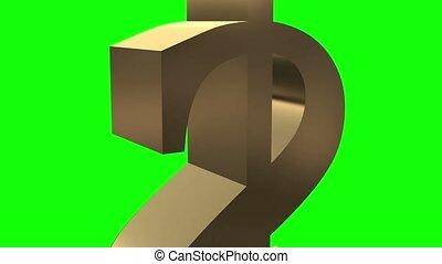 Dollar symbol rotates close up.