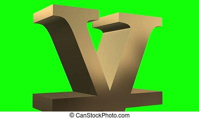Rotation symbol yen 3D space.