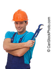 Builder with adjustable wrench - A handsome builder with an...