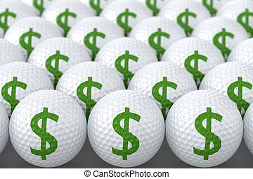 Golf Balls with Green Dollar Sign