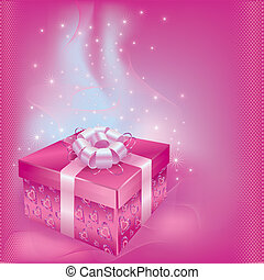 Festive card with gift box - Bright festive card with gift...