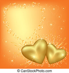 Greeting card with golden hearts for Valentines day. Place for text