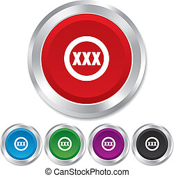 XXX sign icon Adults only content symbol Round metallic...