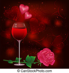 Greeting card with wine glass and rose