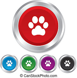Dog paw sign icon. Pets symbol. Round metallic buttons....