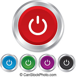 Power sign icon Switch on symbol Turn on energy Round...