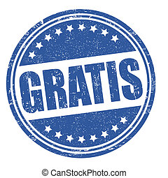 Gratis stamp - Gratis grunge rubber stamp on white, vector...